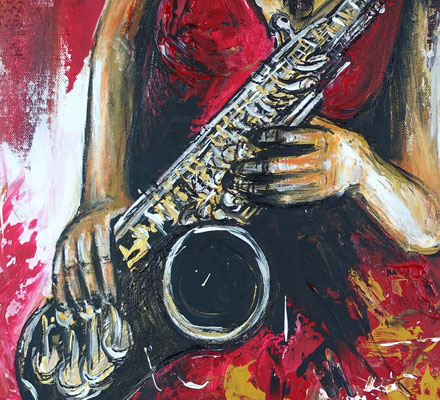 Saxophonistin hochformat modernes Musiker Gemälde Saxophon Leinwandbild