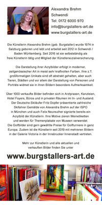 Künstlerin und Kunstmalerin Alexandra Brehm geb Burgstaller aus Krumbach Schwaben