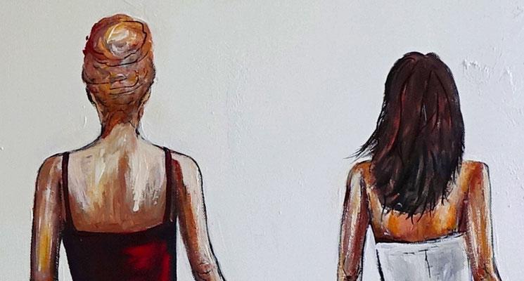 Mona & Lisa Frauen Kleider elegantes Gemälde Wohnzimmer Büro Original Kunstbild