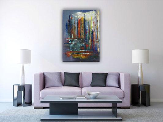 Irland - bunte Kreise Malerei Abstrakt - Original Künstler Bild in blau rot