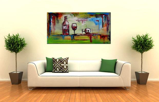 Rotwein Flasche Weingläser abstraktes Gemälde Acrylbild Malerei Kunstbild
