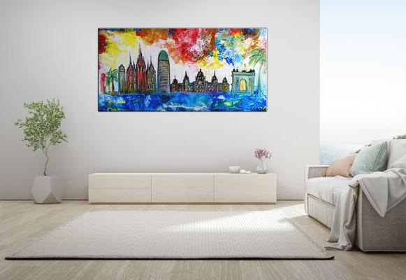 Barcelona abstrakt gemalt Torre Glories Triumphbogen Montjuïc Malerei Gemälde Acryl Bild