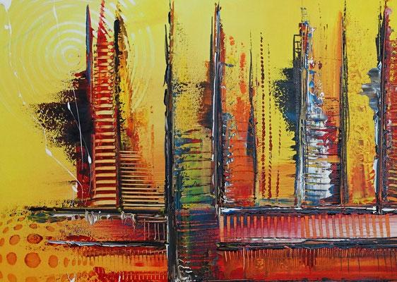 Nevada Skyline abstrakte Malerei gelb orange Leinwandbild Wandbild Acryl