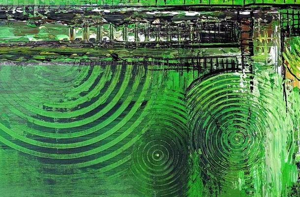 Wohnzimmerbild Leinwandbild abstrakt gemalt grün Malerei Gemälde