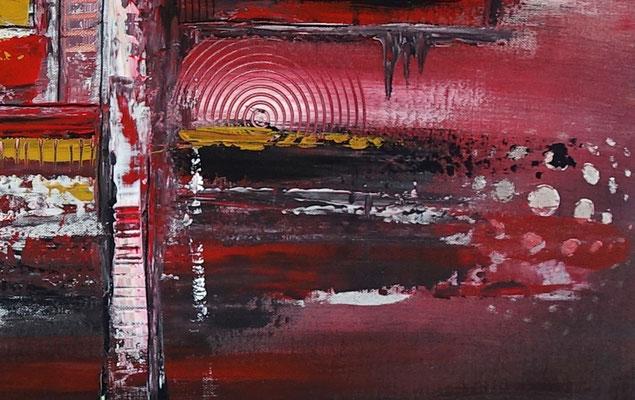 Denver abstrakte Skyline Leinwandbild rot Original