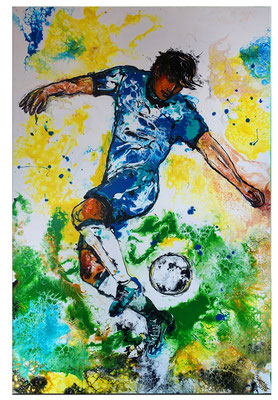 Leinwandbild Fußball Hacke abstrakte Kunst Malerei Original Gemälde Wandbild 60x90