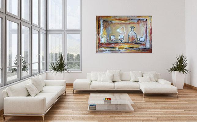 Wandbild Karaffe Cognac Whiskey Gläser abstrakte Malerei Acrylbild silber gold