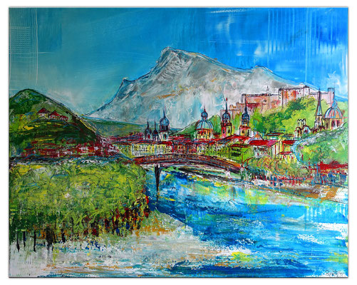 Salzburg Altstadt abstrakt gemalt - Gemälde Acrylbild Kapuzinerberg Festung