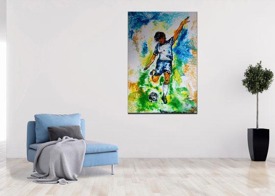 Abstoß Fußballspieler Original Gemälde handgemaltes Acrylbild