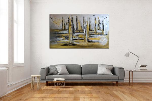 Luxus Stadt abstrakte Malerei Wandbild Silber Gold Acrylgemälde Unikat 140x80