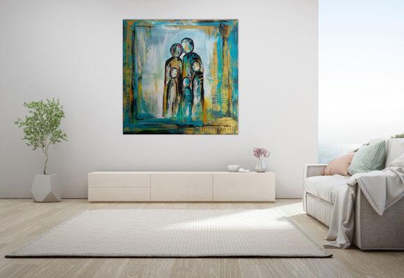 Familie 5er petrol gold abstrakte Malerei Original Acryl Gemälde Unikat Wandbild 100x100x2 23-03