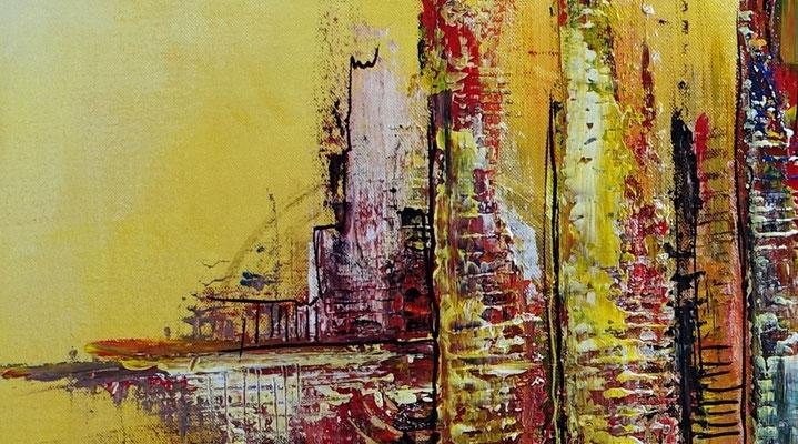 Wüstenstadt abstrakte Skyline Malerei gelb rot modernes Kunstbild Wandbild handgemalt Acryl gemälde