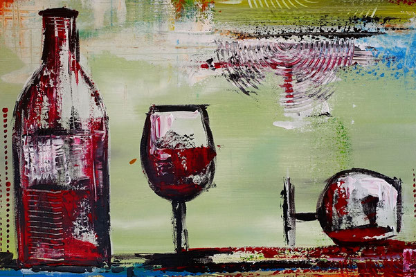 Rotwein Flasche Weingläser Wein abstraktes Gemälde Acrylbild Malerei Kunstbild