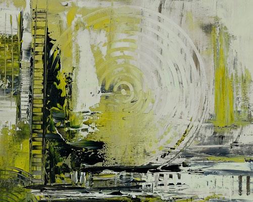 Infinion Abstrakte Malerei Wandbild Kunstbild Gelb grau 50x100 querformat