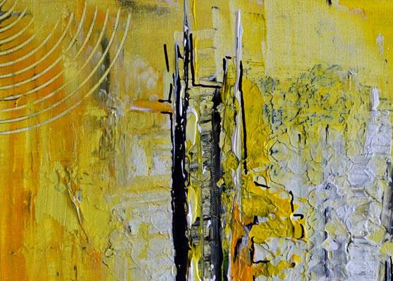 Abstraktes Wandbild gelb grau Acryl Gemälde Kunstbild 40x50