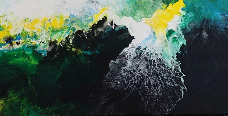 Symbiose abstraktes Wohnzimmerbild grün Bürobilder XXL Kunst Bild