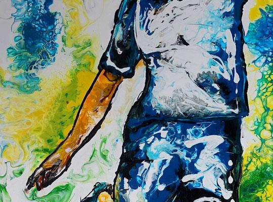 Abstoß Fußballspieler Original Gemälde handgemaltes bild Fluid Art 60x90