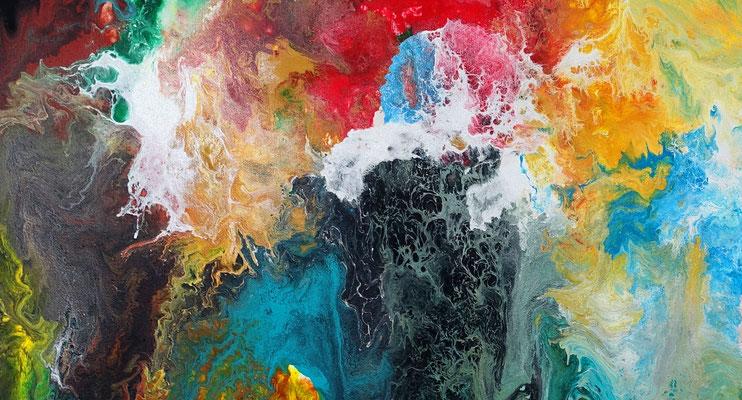 Morgentau abstrakte Malerei buntes Acrylbild Original Gemälde XXL Wandbild Leinwandbild