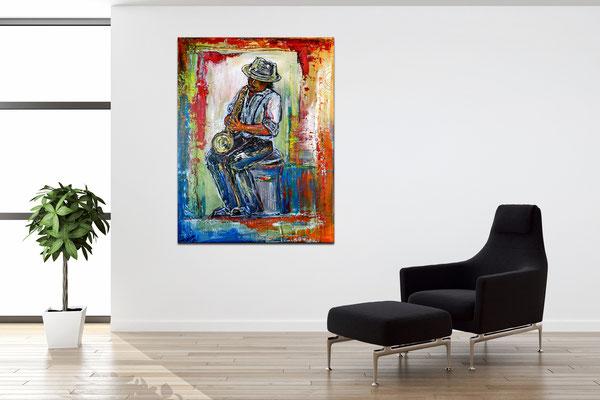 Musiker Gemälde Saxophon Malerei Acrylbild handgemalt Sax Spieler 60x80