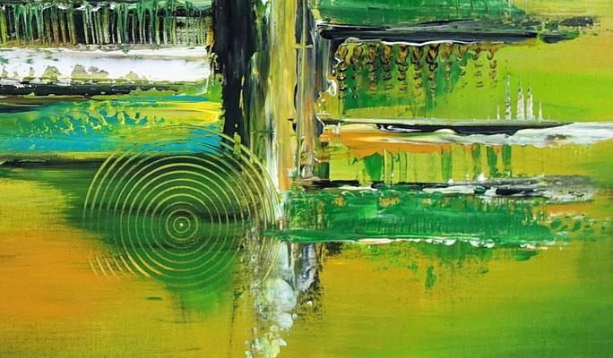 Grüne Lunge abstraktes Wandbild grün Leinwandbild