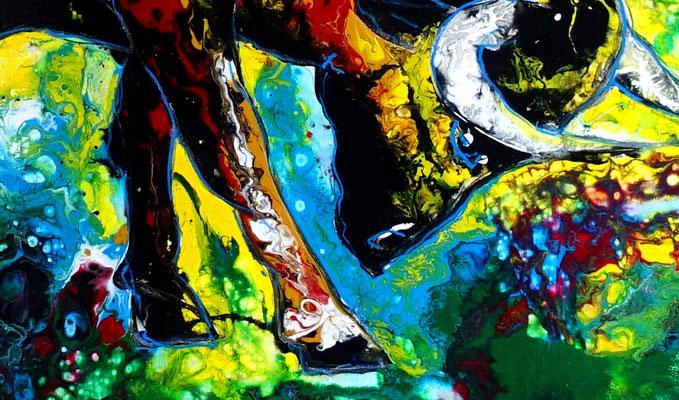Wohnzimmer Bild modern Wilder Stier Bulle braun gelb Tier Malerei Pouring 116x81