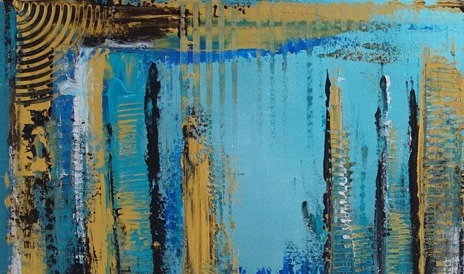Petrol Gold Abstraktes Wandbild handgemalt Acryl Gemälde Leinwandbild