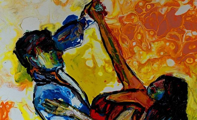 Salsa Tänzer Bild handgemalt - Tanzbild Tanz Kunst Malerei Wandbild Acrylbild Gemälde