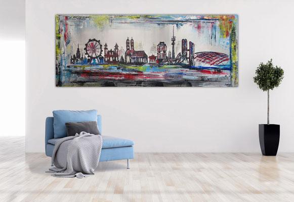 München Skyline abstrakt gemalt Leinwandbild Wandbild Acryl Gemälde
