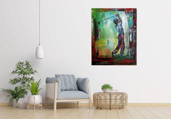 Golfer Abschlag Golfbilder Golfspieler Wandbild Acrylbild Modernes Gemälde Kunst Bild 80x100x2 - 21-03-04