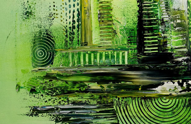 Abstrakte Kunst Bilder Grün Malerei Leinwandbild Acryl Gemälde