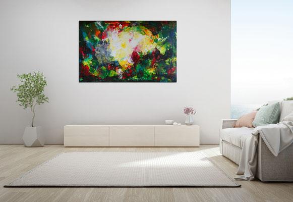 Farbenrausch abstraktes Kunstbild Leinwandbild Acrylgemälde Malerei Unikat gemalt 160x100