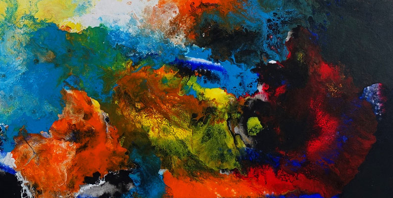 Galaktischer Nebel abstrakt gemalt Fluid Art Wandbild blau gelb bunt Original Gemälde Acryl