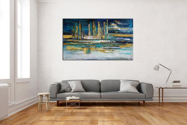 Nordwind abstrakte Malerei Wandbild blau gold handgemalt Original Gemälde Acrylbild 140x80