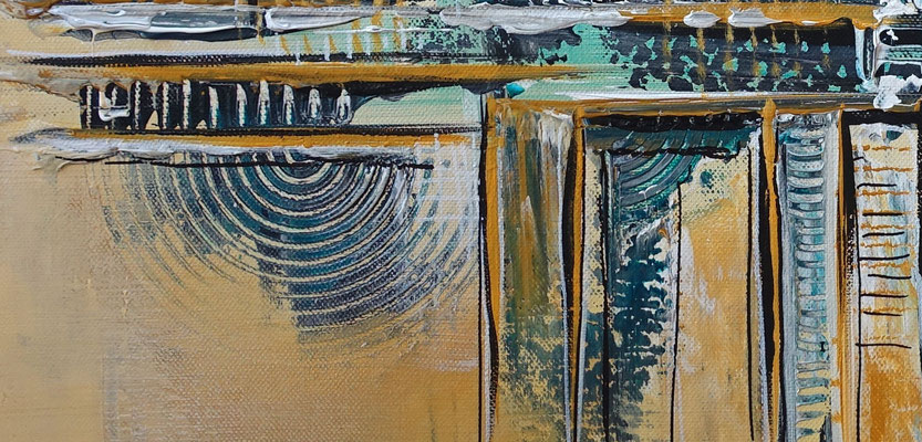 Abstraktes Leinwandbild ocker beige petrol handgemaltes Acrylbild