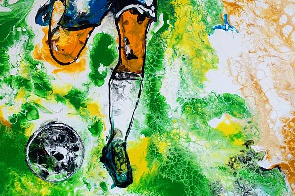 Abstoß Fußballspieler Original Gemälde handgemaltes Acrylbild Fluid Art