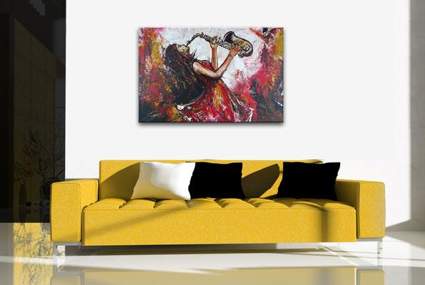 Saxophonistin querformat handgemaltes Musiker Bild Gemälde Saxophon