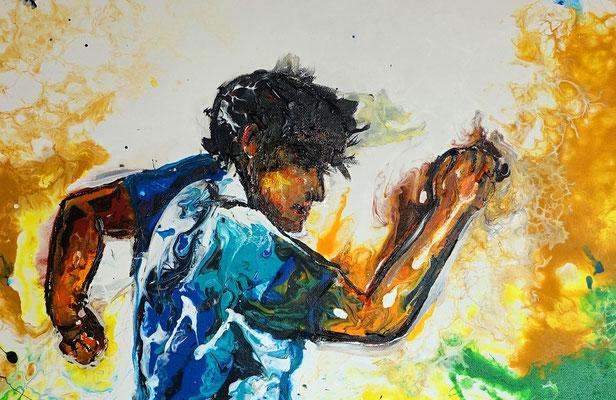 Fußball Gemälde Sport Malerei Abstraktes KunstBild Wandbild Unikat