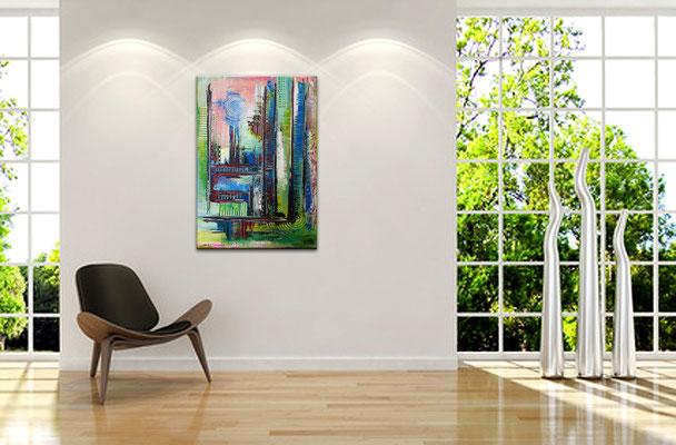Confused bunt pastell abstrakt acrylbilder kunst bilder rot blau aus