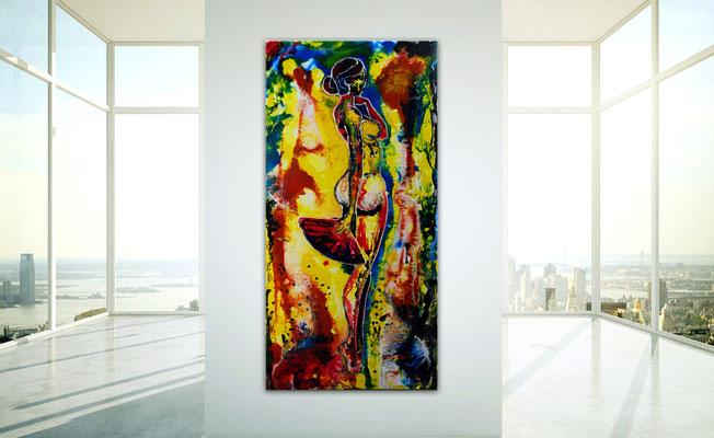 Fächer Frau Erotik Bild Gemälde Frau Women nackt Nude bunt gelb Acrylbild Malerei Leinwand