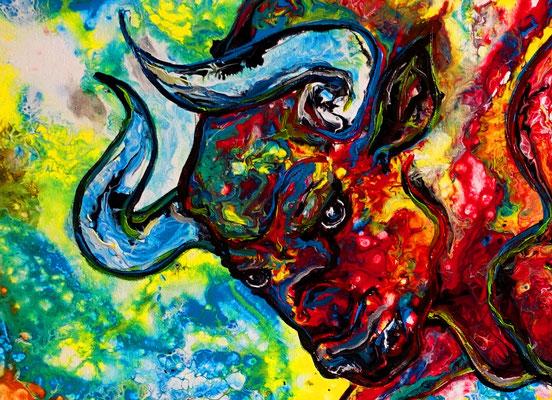 Avispado Wilder Stier Bulle Torro handgemaltes Acrylbild Unikat Moderne Tier