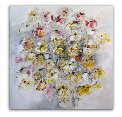 Blumenbild zweiteilig abstrakt xxl grau rot gelb - Blumen Gemälde rechts