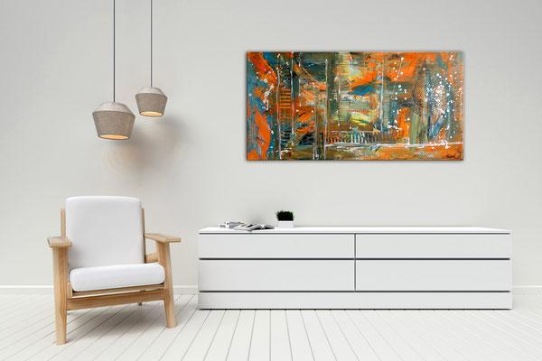 Wallstreet abstrakte Malerei Original Acrylgemälde Acrylbild Unikat orange cyan 100x50