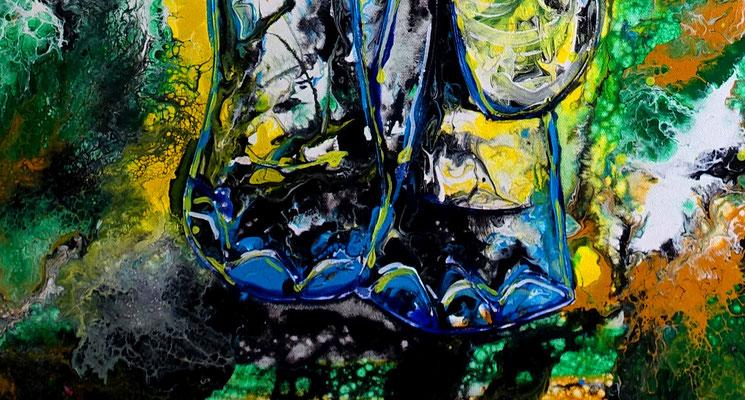 Elefant Elefantenbulle handgemalt Acryl Malerei handgemalt Pouring 80x100