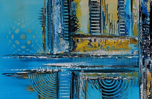 Kiel abstrakte Kunst Wandbild blau gelb modern Malerei 116x81