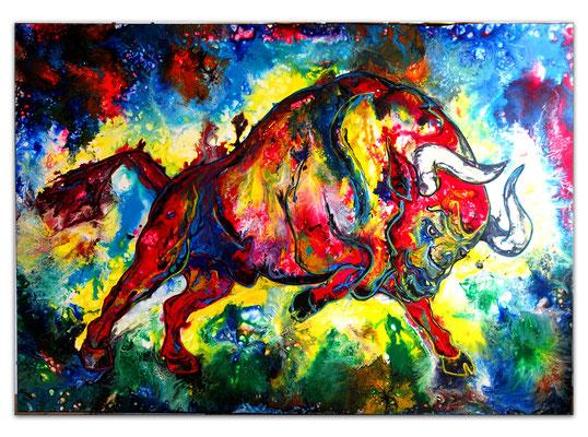 Huracan Wilder Stier Bulle Torro handgemaltes Acrylbild Gemälde Unikat