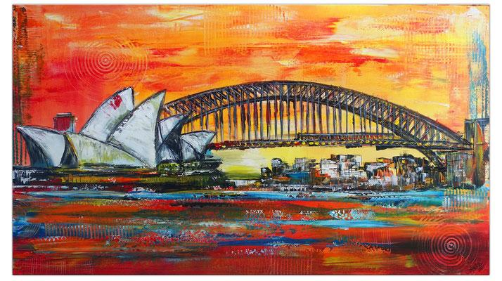 Sydney Skyline Wandbild Oper Harbour Bridge handgemalt XXL