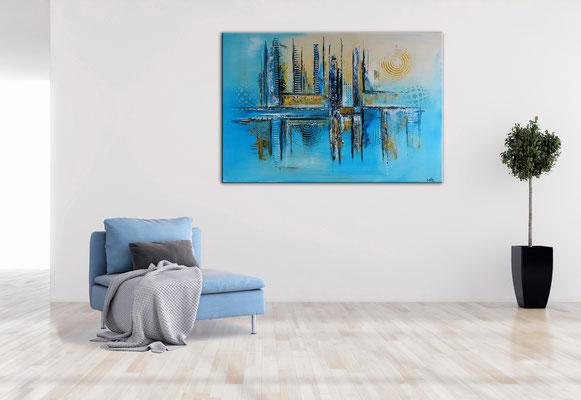 Kiel abstrakte Kunst Wandbild blau gelb moderne Malerei