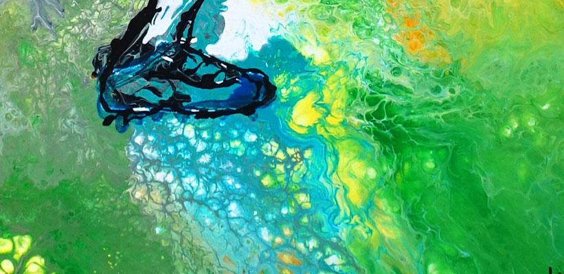 Abstoß Fußballer Spieler abstrakte Malerei Fluid Art Gemälde Kunstbild