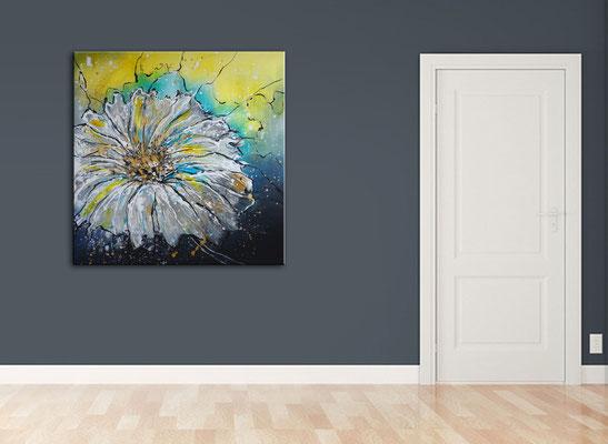 Flugsamen gemalt blumenbild margerite blumen gemälde malerei abstrakt gelb weiß