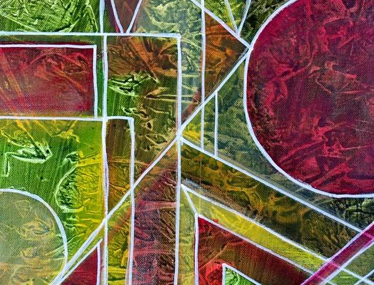 Begegnung Figuren Bild 50x60 Abstrakte Malerei Unikat Kunstbild handgemalte Bilder
